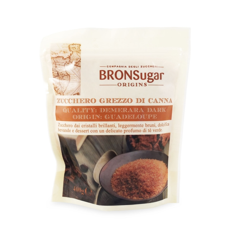 Zucchero di canna Demerara Dark origine Guadeloupe, 400 gr. - BronSugar