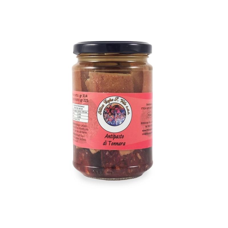Antipasto di tonnara (Bottarga, Lattume e Salame di Tonno sottolio), 314 gr - Ittica Capo San Vito