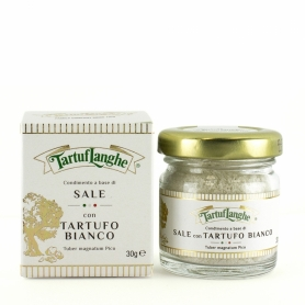 Condimento di Sale grigio di Guérande con tartufo bianco, 30 gr - Tartuflanghe