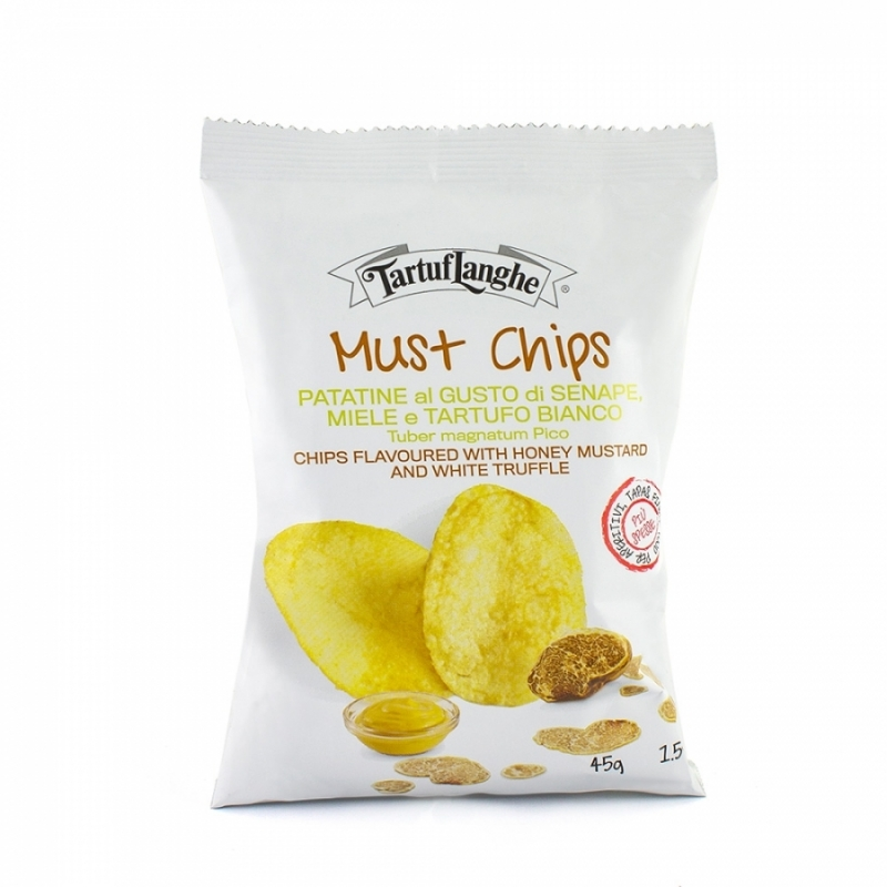 Chips with mustard, honey and white truffle, 100 gr - Tartuflanghe