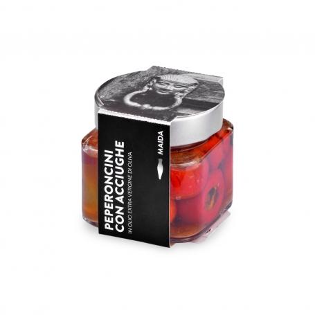 Peperoncini con Tonno in olio extravergine di oliva, 190 gr - Maida