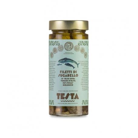 Filetti di Sugarello in olio EVO, 290 gr - Testa Conserve