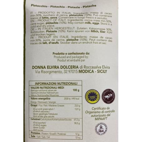 Modica IGP chocolat pistache, tablette 70 gr - Donna Elvira