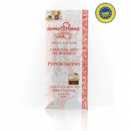 Modica IGP goût de chocolat piment, comprimé de 70 gr - Donna Elvira