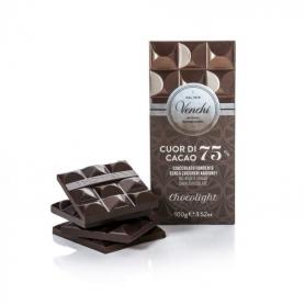 Tavoletta di cioccolato fondente 75% senza zuccheri aggiunti, 100 gr - Venchi