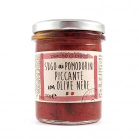 Sugo ai pomodorini piccante con olive nere, 180 gr - Perché ci credo