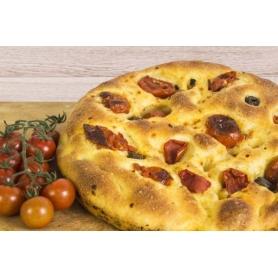 Focaccia pugliese con pomodori e olive, 500 gr - Focaccia e torte salate