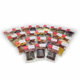 Spices from the world, even our complete collection of 24 spices
