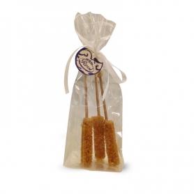 Sticks von kristallisierte brauner Zucker, 3 Stück.