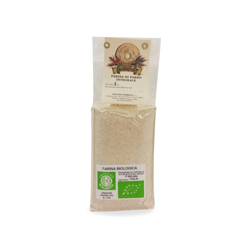 of organic whole spelled flour, 1 kg - Mulino Sobrino