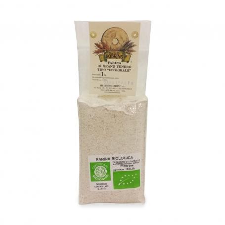 Farina di grano tenero tipo integrale bio, 1 Kg - Mulino Sobrino - Farina di grano e cereali