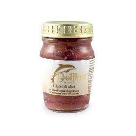 Filetti di alici in olio di semi di girasole, 80 gr - Delfino Battista