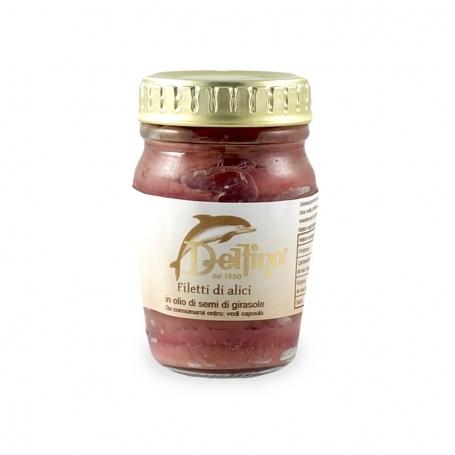 Filetti di alici in olio di semi di girasole, 80 gr - Delfino Battista - Conserve di mare
