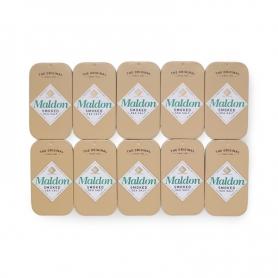 Salz geräuchert Maldon in eleganter Dose von 9,5 gr, 10 Packungen