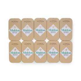 Smoked Maldon salt in an elegant 9.5g can, 10 packs