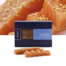 Coeur de filet de saumon fumé aromatisé avec Gin Tonic, 400 gr - Carpier