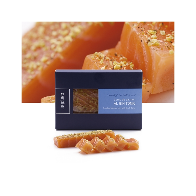 heart smoked salmon flavored with Gin Tonic, 150 gr - Carpier