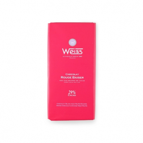 white chocolate with crunchy red fruit, 100 gr. - Chocolaterie Weiss