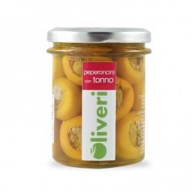 Peperoncini gialli con tonno, 190 gr - Oliveri