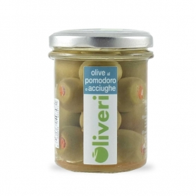 Olives with tomato and anchovies in oil, 180 gr - Oliveri