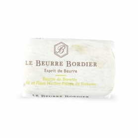 Burro de baratte with garlic, herbs and pepper from Sichuan, 125 gr - Le Beurre Bordier