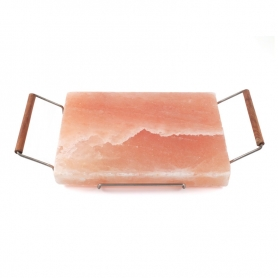 Pink salt plate, 10x20 cm + Support for cooking
