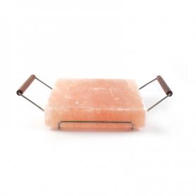 Rosa Salzplatte, 20x20 cm + Unterstützung für das Kochen
