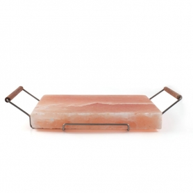Pink salt plate, 20x30 cm + Support for cooking