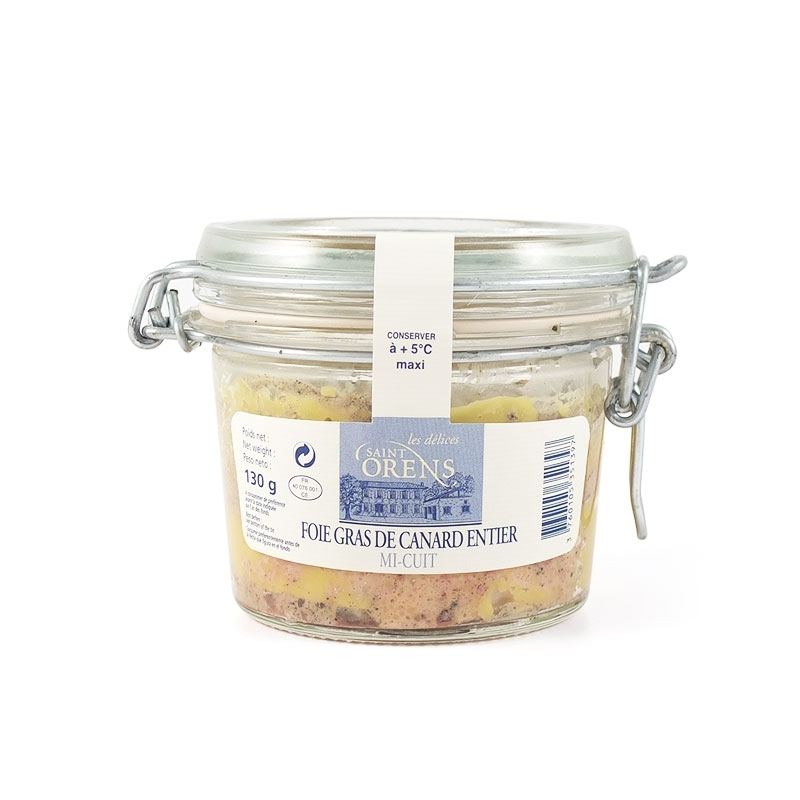 Foie Gras di Anatra Mi Cuit Entier in vaso vetro, 130 gr