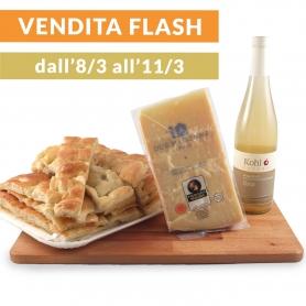 "Focaccia 1kg + Parmigiano + Succo di mela - ""La Merenda"""