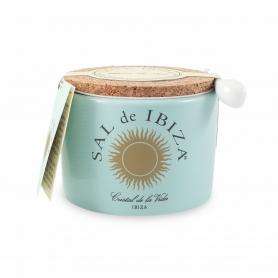 Fleur de Sel (blossom of salt) in ceramic jar, 150 gr - Sal de Ibiza